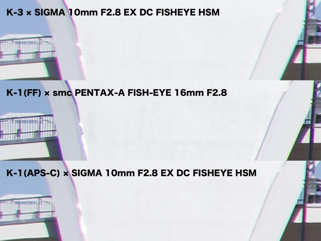 PENTAXとSIGMAのFISH-EYE 写真左端の比較